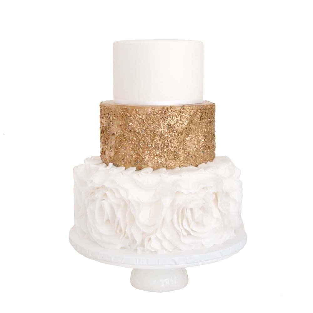 Rosettes & Gold Sequins || Sugarlips Cakes || www.SugarlipsCakes.com