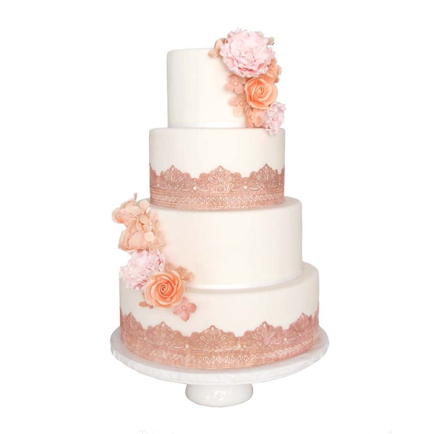 Rose Gold Lace || Sugarlips Cakes || www.SugarlipsCakes.com