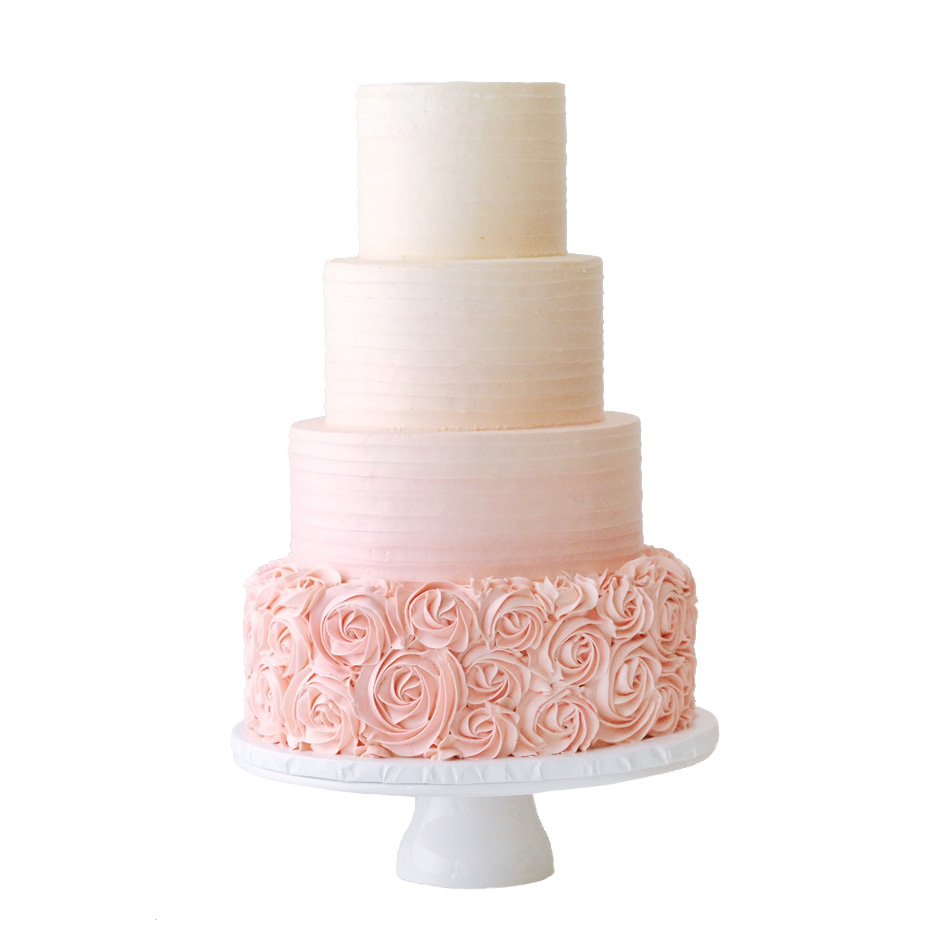 Texture Buttercream Ombre & Rosettes || Sugarlips Cakes || www.SugarlipsCakes.com