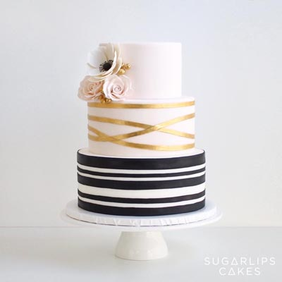 Gold Blush Black Stripped Wedding Cake