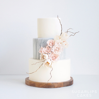 Marble Tulip Wedding Cake