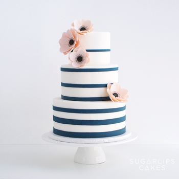 Navy Stripes Wedding Cake with Anemones