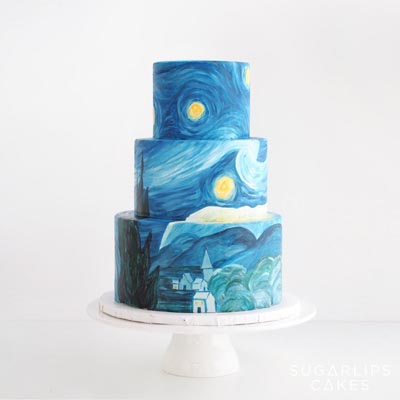 Starry Nights Vincent van Gogh Wedding Cake